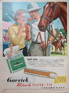 GARRICK FILTER TIP CIGARETTES ad 1957 original vintage AUSTRALIAN advertising