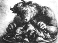 "Paul Rumsey [Dibujo], ""Minotauro / Minotaur"", 55 x 75 cm., 1998"