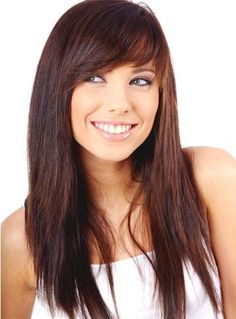 In summer season, side bangs hairstyles are very popular. We are sharing Celebrity Side Bangs Hairstyles 2018 images pictures photos Side Bangs With Long Hair, Layered Haircuts With Bangs, Oval Face Haircuts, Side Bangs Hairstyles, Haircuts For Long Hair, Long Hair Cuts, Straight Hairstyles, Cool Hairstyles, Layered Hairstyles