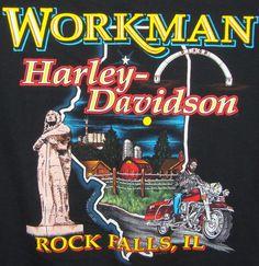 Workman Harley Davidson Rock Falls IL Graphic T-shirt XL Black Hawk Farm Scene #HarleyDavidson #GraphicTee