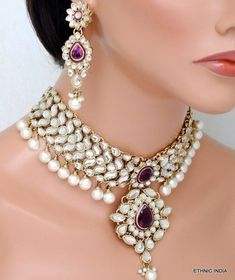Purple white kundan pearl choker gold necklace earring wedding set