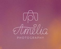 Amelia Photography Logo design - A custom type for the word Amelia and an icon that is a monogram of the letters A   P that made into a camera. So the logo actually consists of two parts that could be used separately as well. Like the camera can be used for someone or a studio name that starts with A or the lettering can be used for something different than photography like beauty products, natural cosmetics, shop, store, product, organization, clothing, jewelry, etc. Price $290.00