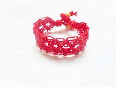Red Diamond Lace Hemp Cuff B... from luvbuzz on Wanelo