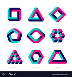 Impossible Shapes, Optical Illusion Objects Stock Vector - Illustration of abstract, puzzle: 74691575 Optical Illusions Drawings, Optical Illusion Quilts, Illusion Drawings, Art Optical, Illusion Art, Optical Illusion Tattoo, Geometric Drawing, Geometric Shapes, Zentangle