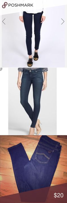 """Michael Kors Skinny Jeans Michael Kors Skinny Jeans Color:  Dark Wash Size: 2 Material: 98% Cotton, 2% Elastane  Waist: 30"""" Rise: 8"""" Inseam: 29"""" Details: Light fading and whiskering bring worn-in appeal to dark blue stretch-denim jeans in a leg-hugging, skinny silhouette.  Zip Fly-Button Closure, 5-Pocket Style, Belt Loops, Gold-Tone MK Logo on Back Rear Pocket.   Good Preowned Condition.  No rips, holes, tears or stains.  Bottom hems show very minor wear. Michael Kors Jeans Skinny"""