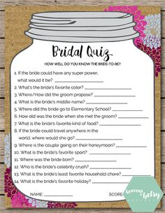 This printable Bridal Quiz game is perfect for any Bridal Shower or Wedding. Keep guests entertained while watching a bride open gifts at a shower, Wedding Games For Guests, Wedding Shower Games, Bridal Shower Party, Bridal Shower Rustic, Bridal Showers, Gifts For Bridal Shower Games, Bridal Shower Guest Gifts, Rustic Bridal Shower Decorations, Printable Bridal Shower Games