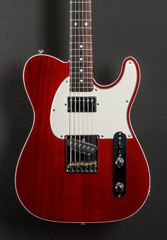 Clear Red top with a Natural back, Swamp Ash top with the optional deleted F hole and binding on a Black Limba body, Optional Parchment pickguard, Modern Fender Stratocaster, G&l Guitars, All Music Instruments, Guitar Photos, Guitar Shop, Beautiful Guitars, Modern Classic, Drums, Bass