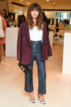 Wider legged straight legged ar the ankle bone dark jean, kitten heel and jacket.  Chic, simple and relaxed