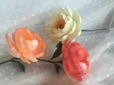 Crepe Paper Flower  Coral Charm Peony  Handmade by PinkCherryMama