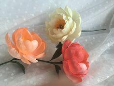 Crepe Paper Flower  Coral Charm Peony  Handmade by PinkCherryMama
