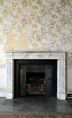 old flowers 1920s wallpaper house black floral fire design hall fireplace iron pattern ripped northumberland faded surround worn marble bold patterned belsay d5000