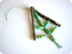 michele made me: Series 7 - Ornament-ED: DIY Twig 'n Bead Trees Christmas Crafts For Kids, Diy Christmas Ornaments, Xmas Crafts, Handmade Christmas, Christmas Fun, Natural Christmas, Paper Crafts, Rustic Crafts, Beaded Ornaments