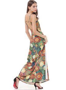 robe dos dénudé motif géométrique à bretelles