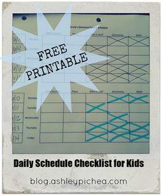 daily schedule checklist for kids