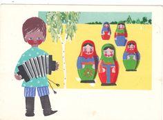1966 RARE Nesting dolls boy with harmonika Rapoport old Russian Soviet postcard