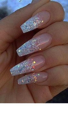 #nails #glitter #slay #fleek #white