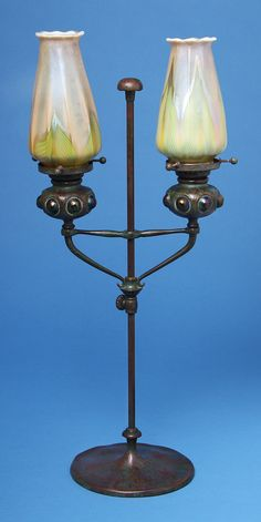 ** Tiffany Studios, New York, Favrile Glass and Patinated Bronze Lamp.