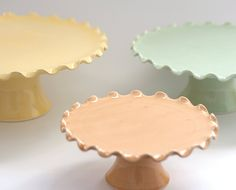 "MADE TO ORDER - Cake Stand Tier Set - Large 12"" Medium 10"" and Small 7"" - Ruffle…"