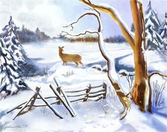 """After the Storm"" - Digital Watercolour, in Snowy Landscapes After The Storm, Winter Art, Hamilton, Moose Art, Digital Art, Watercolor, Wall Art, Artwork, Landscapes"