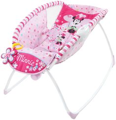 Sleep in style with the MINNIE MOUSE Bows & Butterflies sleeper that's simply ear-resistible! The sleeper uses a gentle rocking motion and vibrations to help soothe your little mouseketeer. The lightweight frame folds flat for storage and transport. A plush Minnie Mouse toy comes with a link to help entertain your baby.