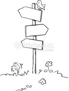 Arte del vector: Bosquejo del poste indicador con el pequeño pájaro