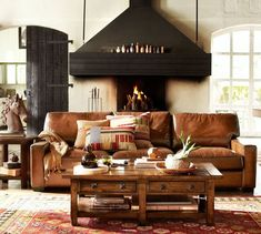 Turner Square Arm Leather Sofa | Pottery Barn