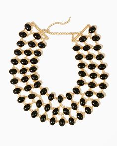 943d5ab66e8d Bib necklace with black stones and gold. Wear it with a dress or a sweater