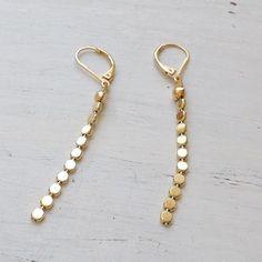 Gold Filled Long Dangle Chain Earrings