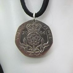 Necklace made with a 2004 English 20 Pence.