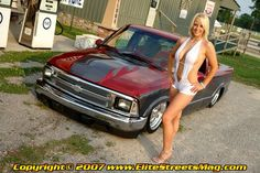 Amy Sams and a lowered Chevy Chevy S10, Lowered Trucks, Chevy Girl, S 10, Mini Trucks, Gas Pumps, Hot Wheels Cars, Pin Up Girls