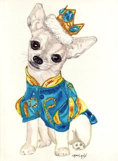 Prince the Charming Chihuahua Blank Greeting Card with Print of  Original Watercolor Painting on Etsy, $1.95