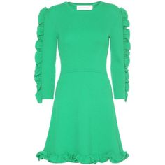 Victoria Victoria Beckham Fitted Ruffle Trim Dress (36,485 INR) ❤ liked on Polyvore featuring dresses