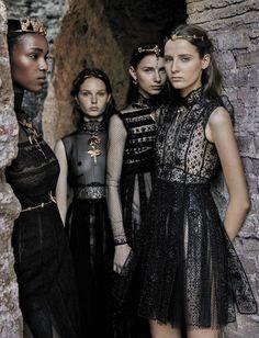 Leila Nda, Sofia Tesmenitskaya, Grace Simmons and Yana Van Ginneken by Fabrizio Ferri   Valentino Haute Couture F/W 2015-16   Vogue Italia September 2015
