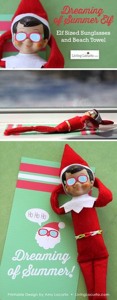 Christmas Elf Sunglasses and Santa Beach Towel. Fun paper printable idea for your Christmas elf! Kids will love this fun surprise for their Elf on the Shelf. Family Christmas, All Things Christmas, Christmas Holidays, Christmas Crafts, Christmas Ideas, Elf Auf Dem Regal, Elf Magic, Elf On The Self, Naughty Elf