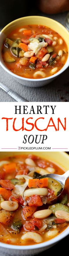 Hearty Tuscan Soup Recipe - vegan and healthy comfort food and only 10 minutes to prep! http://www.pickledplum.com/hearty-tuscan-soup-recipe/