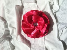 Hot Pink Satin Hair Flower/Pin by OliviasPretties on Etsy, $5.00