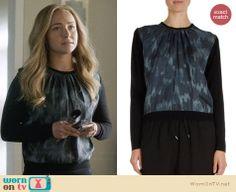 Juliette's black and blue printed front pullover on Nashville.  Outfit Details: http://wornontv.net/32180/ #Nashville