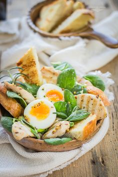 grilled mustard chicken with spinach and egg