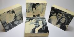 Engagement Photo Blocks: Couples Personalized Photo Block Set 4, Solid Wood, Anniversary, Wedding, Photo Gift, fiance, husband, wife, 5.5""