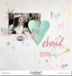 Cherish Springtime layout using Heidi Swapp Dreamy collection