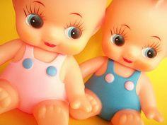 Kawaii Vintage Toy Japanese Kewpie Squeaky Doll Collectibles Pink Girl Blue Baby Made in Japan by Kawaii Japan, via Flickr
