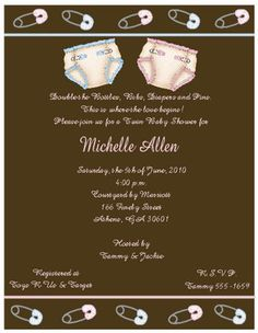 Diaper and Pins Baby Shower Invitations Twins -- Keepsake Imprints Online Store