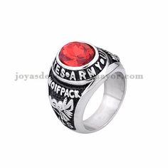 anillo de serie escuela cristal rojo en acero plata inoxidable -SSRGG371858