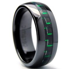 8MM Dome Men's Black Ceramic Ring Wedding Band With Black & Green Carbon Fiber Inaly Sizes 5 to 15 Bonndorf. $26.99. Comfort Fit. 30-Day Money Back Guarantee. Solid Cobalt Chrome. Comes with a FREE Ring Box!!