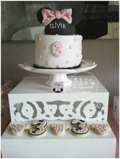 Cake at a Minnie Mouse birthday party! See more party planning ideas at CatchMyParty.com!