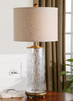 "Tomi  Item #26860-1 Uttermost lamp  31  15"" diameter  Oatmeal linen shade slubbed"