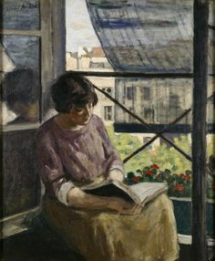 Woman at a Window (c.1913). Albert André (French, 1869-1954). Oil on canvas. The Ashmolean Museum of Art and Archaeology. André developed his sense of colour and his interest in contemporary themes through contact with the Impressionists. This painting shows the view from André's studio in the Boulevard de Clichy looking north. The church of the Sacré Coeur is hidden by the blind.