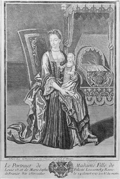 Madame Elisabeth de France, later duchesse de Parme (1727-1759), first legitimate child of Louis XV, with her governess, circa 1727 print, French school (Chateaus de Versailles)