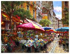 Sung Sam Park RENDEZVOUS IN NICE Hand Signed Limited Edition Giclee on Canvas