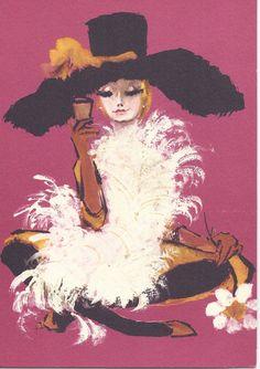Vintage Norcross Greeting Card mod glamor gal girl by jarysstuff, $4.00